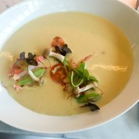 Chilled Corn Soup - Maine Lobster, Pole Beans, Beech Mushrooms
