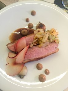 Roasted Pekin Duck Breast - Grilled Cabbage, Sezchuan Peanuts, Mushroom-Miso Puree