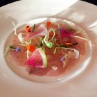 Red snapper crudo, watermelon radish, fennel, lemon curd