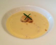 Chilled sweet corn soup, seared prawn