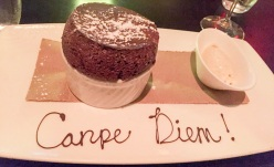 Chocolate soufflé, vanilla ice cream